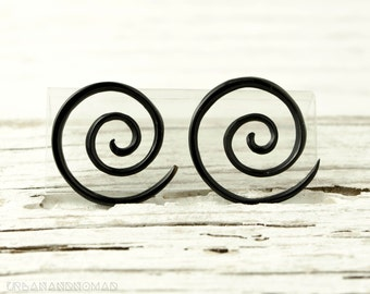 "Black Horn Earrings Double Spiral Gauges  16g 14g 12g 10g 8g 6g 4g 2g 0g 00g 1/2""  Expanders - GA003 H G1"