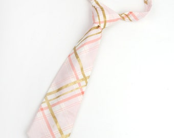 Pink and gold plaid necktie, boys pink plaid dite, pink and gold tie, rose quartz tie, pink toddler tie, ring bearer outfit, rose quartz