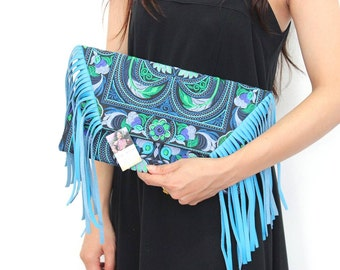 Blue Fringe Cross Body Bag with Removable Leather Strap Embroidered Fabric (BG4395-BB)