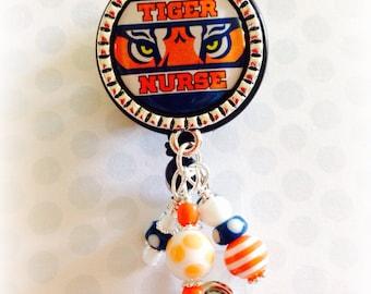 Auburn Tigers Nurse Badge id holder medical reel go tigers go war eagle badge auburn tigers fan rn lpn rad tech picu nicu doctor tiger love