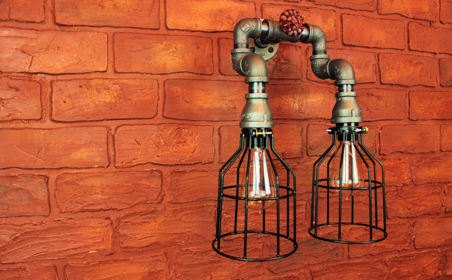 Electric Wall Sconce Light Fixture Pipe Lighting W Cages