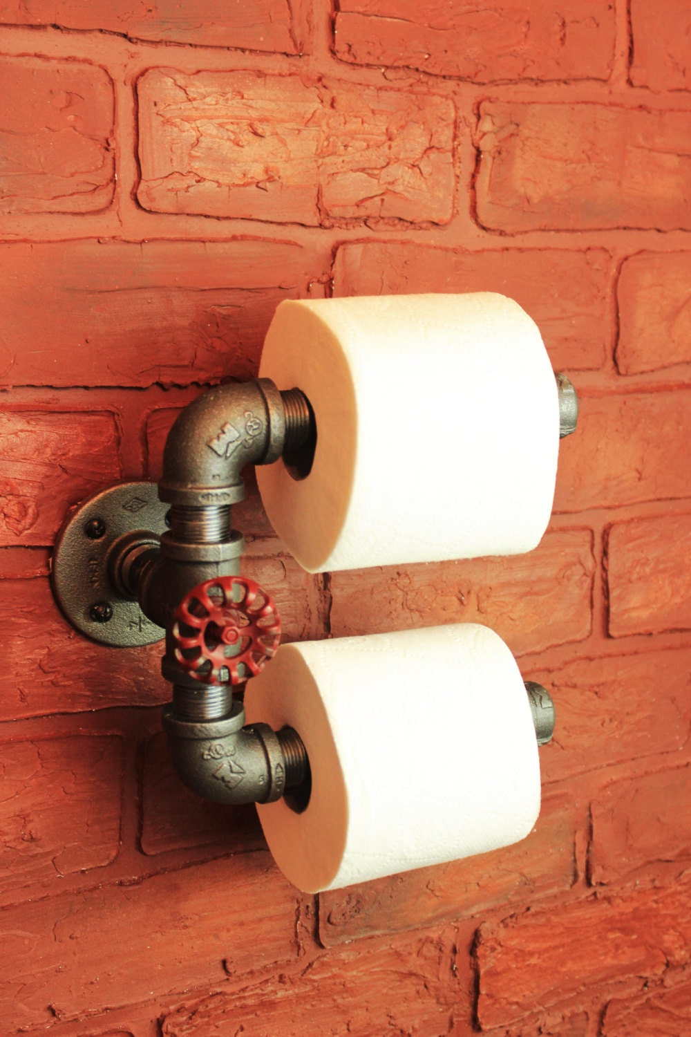 industrial pipe double roll toilet paper holder toilet roll. Black Bedroom Furniture Sets. Home Design Ideas