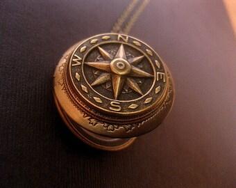 Compass Locket Necklace - SteamPunk Necklace - True North Locket - Photo Locket - Antiqued Brass - Keepsake
