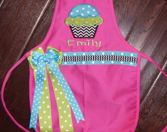 Personalized Girls Apron, Monogrammed Children's Apron, Cupcake Apron, Embroidered Cupcake Apron