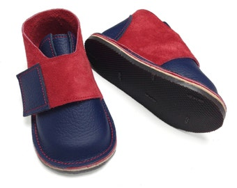 Navy blue and red leather and suede handmade shoes for children and toddlers.  Boys shoes.  Girls shoes.  Children's shoes.