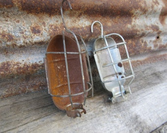 2 Vintage Caged Light Shades Metal Industrial Lamp Parts Light Fixtures Rust Shop Lights Trouble Lights Garage Man Cave Lighting Shades Old