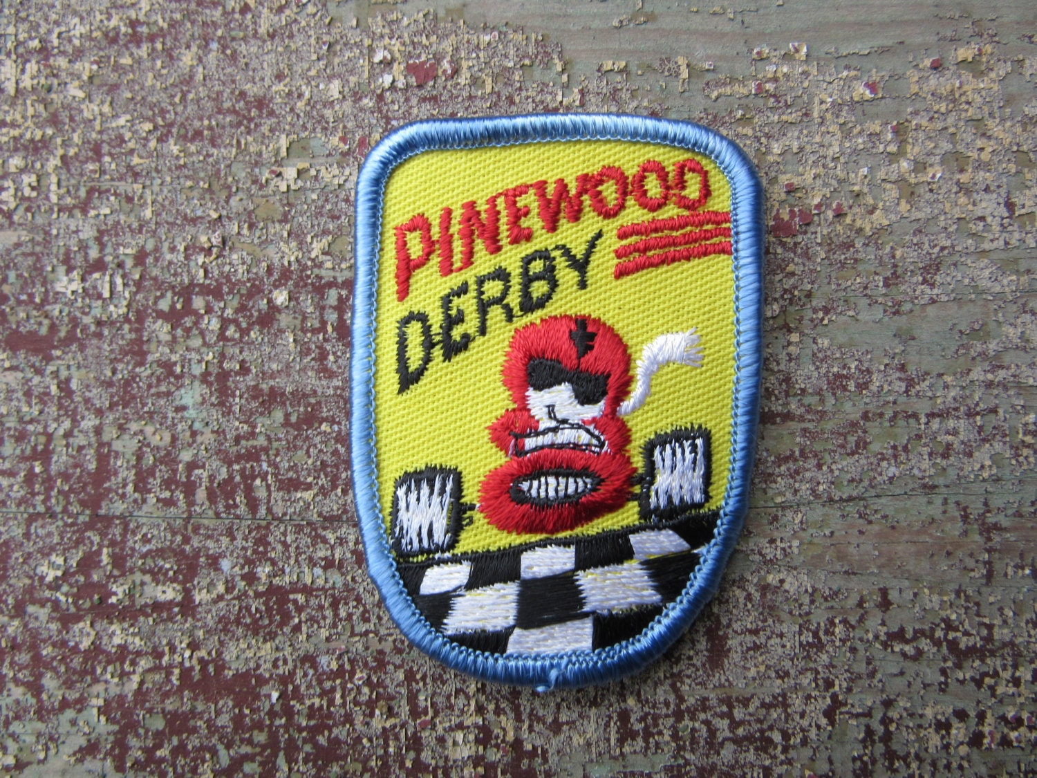 vintage clothing patch cloth patch pinewood derby car scouts