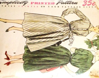 """Vintage 1950s Simplicity Misses' Dress with Detachable Collar Pattern 4783 Size 12 (30"""" Bust)"""