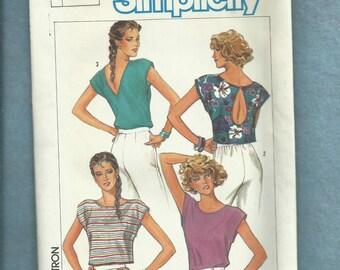 Vintage 1980's Simplicity 6849Keyhole or V Back Crop Tops  Size 6..8..10 UNCUT