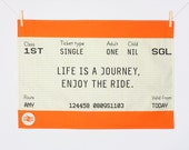 Train Ticket Tea Towel, Dish Cloth, Kitchen Towel, Travel Quote, Travel Gift, Transport, Travel, British, Quotes, Orange, Life Quotes, Gift
