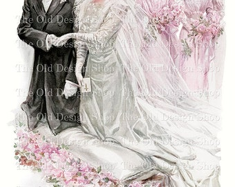The Wedding by Harrison Fisher Vintage Art Digital Download JPG Image
