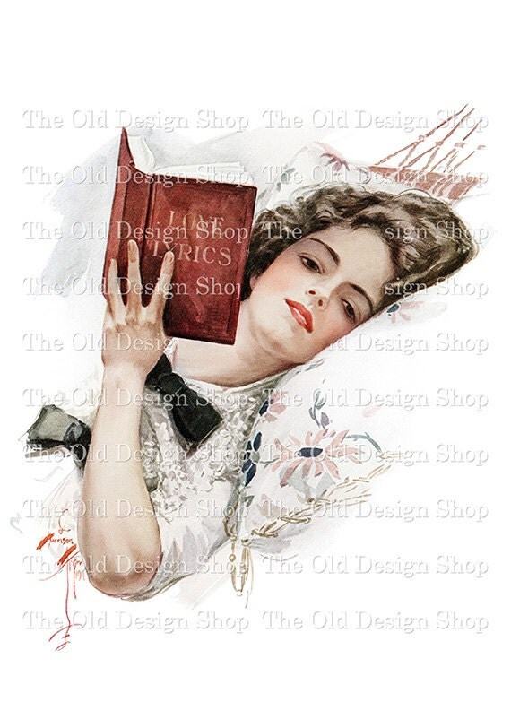 Harrison Fisher Lady Reading Book Printable Vintage Art Digital Download JPG Image