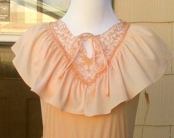 Vintage 1970s Peach Orange Victorian Maxi Dress NOS Formal Prom Wedding Small