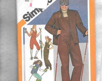 Vintage 1980 Simplicity 9785 Misses' Ski Warm Ups, Jacket With Detachable Arms, And Leg Warmers, Size 12,  UNCUT