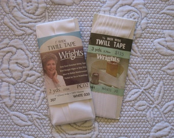 Vintage Wrights White Twill Tape  2 New  Package dated 1986
