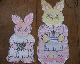 Vintage Mummy Bunny and Baby Girl Bunny Rabbit Set Craft Panel Cut-Out Pillow or Toy 1960's Fabric Cotton