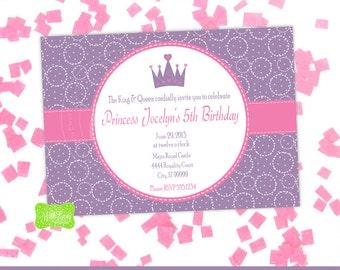Princess Party Invitation - Princess Invitation - Princess Birthday Invite - DIGITAL and PRINTED Available