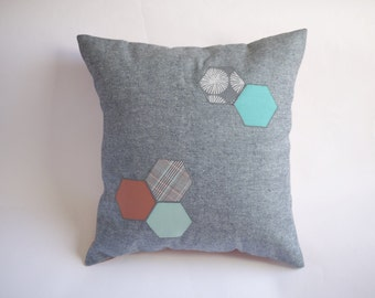 organic cotton / upcycled geometric hexagon pillow cover - 18""