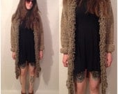 Vintage 80s Brown Oversized Slouchy Baggy Long Sleeve Knee Length Cardigan with Fringe Sweater Size Large