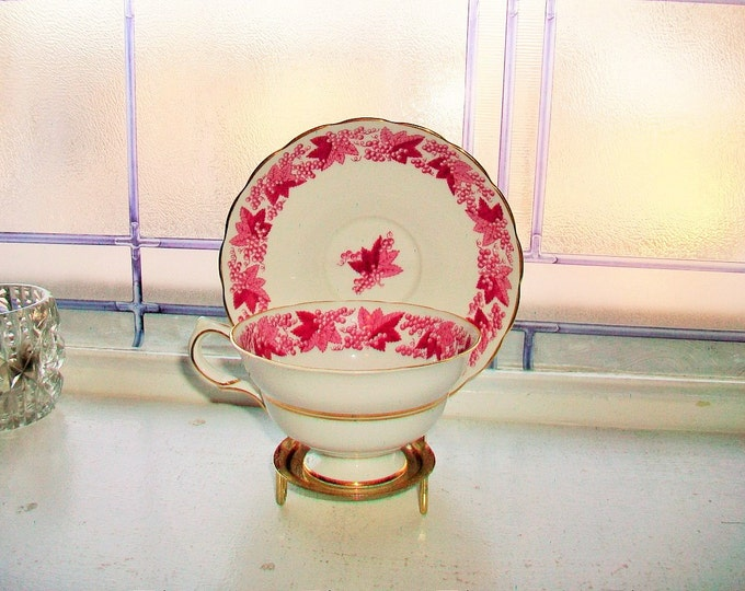 Grosvenor Tea Cup and Saucer Grape Leaves Vintage Bone China Made in England