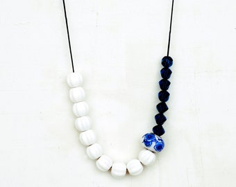 White Ceramic Necklace, White And Blue Clay Necklace, Ceramic And Glass Necklace