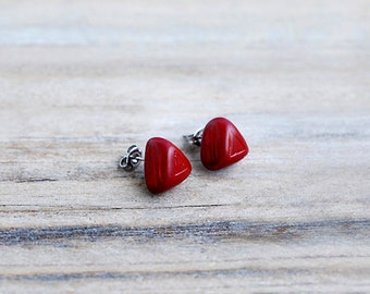 Red Stud Earrings, Red Triangle Earrings, Carved Polymer Earrings