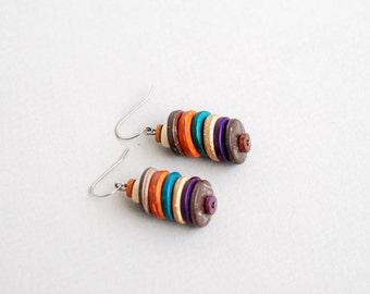 Coconut Earrings, Earth Tone Earrings, Dangle Earrings, Natural Earrings