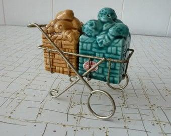 Fruit Cart Vintage Salt and Pepper Shaker Set Vegetable Basket