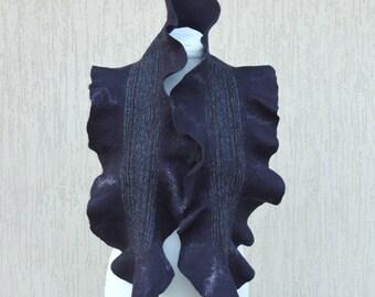 Black scarf. Felt scarf. Black felted scarf.