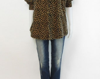Vintage 90s Minimal VELVET Animal Print LEOPARD Button Down Blouse Top