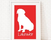 Labrador Silhouette Modern Dog Print - Custom Wall Art, Personalized Dog Print, Modern Dog Home Decor, Dog Portrait, Dog Art, Dog Lovers