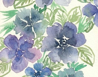 Original Watercolor Flowers, Indigo and Purple floral illustration, 4x6