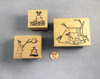 Little Ladies Camping Rubber Stamp Set