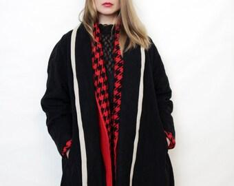 Vintage Black Wrap Around Coat with White Trim