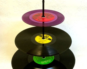 3 tier Vinyl Record Cupcake Stand Retro Cake Stand Purple Yellow Green