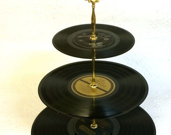 3 tier Vinyl Record Cupcake Stand Black and Gold