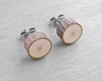 Wood Slice Stud Earrings - Hardwood Faux Plug Fake Gauge Post Earrings - Bark Earrings with Surgical Steel