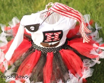 Pirate tutu-- Pirate Dress-- Girls Pirate Birthday-- Pirate Birthday-- Pirate Halloween Costume-- Girls Pirate Costume-Jake and the Never