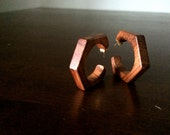 70s wooden hexagons - earrings