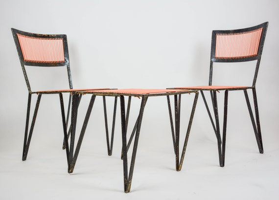 Mid Century Modern Iron Patio Set Chairs And By