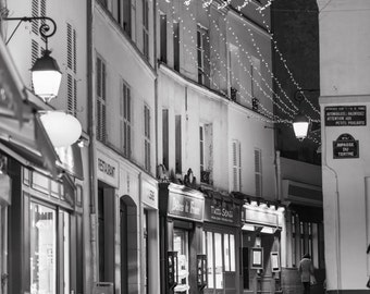 Paris Black and White Photography - Winter Night, Rue Norvins, Montmartre, Fine Art Travel Photograph, Large Wall Art, Home Decor