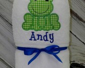 Personalized Frog Hooded Baby Towel