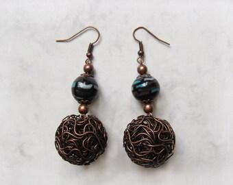 Twist of Twilight polymer clay Statement earrings, Statement jewelry, Antique Copper Earrings, Copper Jewelry, Wire jewelry, Wire Earrings
