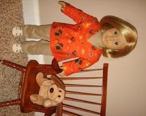 Handmade Doll Clothes fits/for 18 inch American Girl Doll ~ Veterinarian Vet Animal Doctor Jacket Set ~ Orange ~ Pants & Shirt