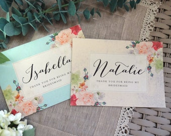 THANK YOU For Being My Bridesmaid / Maid of Honour/Maid of Honor/Flower Girl Card.  5x7 with Envelope. Choose Your Envelope
