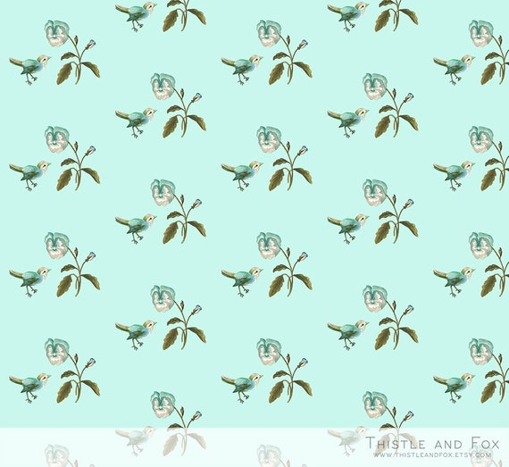 Mini Songbird Pansy Seafoam Blue Fat Quarter Fabric for Doll Clothes
