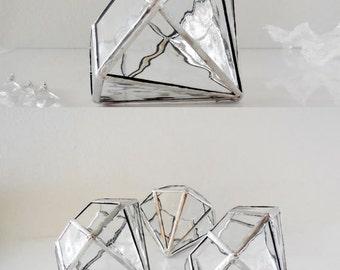 Glass Terrarium, Elegant terrarium, Geometric Plant Holder, Diamond Shape Planter for Indoor Gardening, Wedding Gift