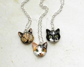 Cat Portrait Necklace or Brooch, Portrait of your pet