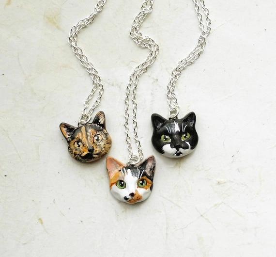 Cat Portrait Necklace or Brooch, Portrait of your pet
