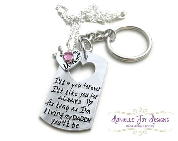 "Father Daughter ""I'll Love You Forever I'll Like You For Always As Long as I'm Living My Daddy You'll Be"" Dog Tag Mens KeyChain"